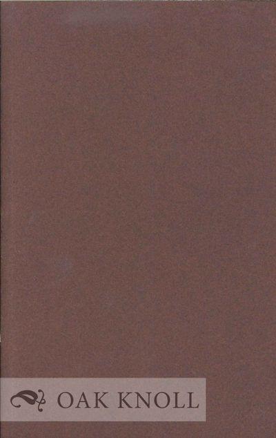 N.P.: (Jordan Davies, 1984. stiff paper wrappers. Jordan Davies. 8vo. stiff paper wrappers. (16) pag...