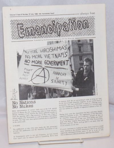 Washington, DC: Anarchist Association of the Americas, 1982. 8p., 8.5x11 inches, unstapled, a few sm...