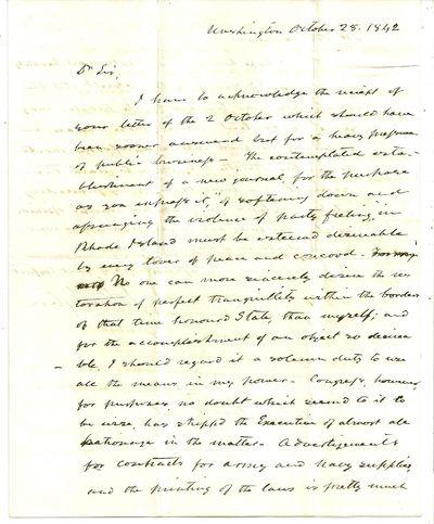 Washington DC, 28 October 1842. Letter. Normal folds from mailing, a few short splits, ink dark. Nea...