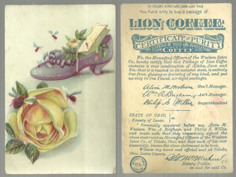 VICTORIAN TRADE CARD FOR LION COFFEE WITH FLOWER FILLED SHOE AND ROSE, Advertisement