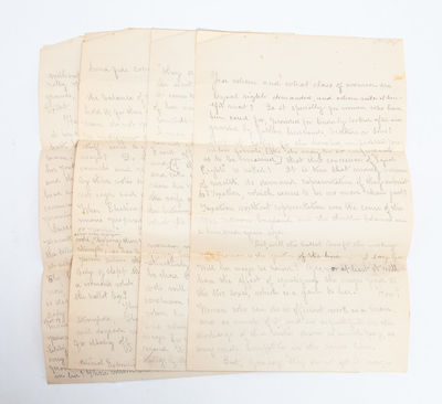 , Late 19th century. Comprised of four manuscript pages on four unlined legal sheets, composed in a ...