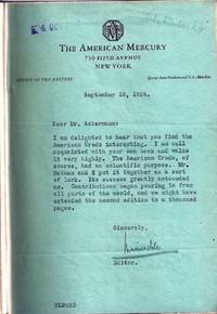 THE AMERICAN CREDO. A CONTRIBUTION TOWARD THE INTERPRETATION OF THE NATIONAL MIND with a TYPED LETTER SIGNED (TLs) by Mencken