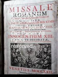 image of MISSALE ROMANUM Ex Decreto Sacrosancti Concilij Tridenttini Restitutum, S. PII V, PONTIFICIS MAXIMI JUSSU EDITUM, CLEMENTIS VIII, ac URBANI VIII, AUCTORITATE RECOGNITUM; Cui novissimè additae sunt Missae SS. à pluribus Summis Pontificibus USQUE AD SS. D. N. INNOCENTIUM XIII, NOVO RITU DECORATE, Tam Praecepto, quàm ad Libitum, ac suis locis ordinatim,_congruè dispositae.