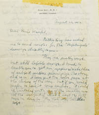 Autograph letter signed 'Lynd Ward' to 'Dear Miss Wuerfel(?)' on Ward's personal stationery. A letter announcing the sending of some drawings for