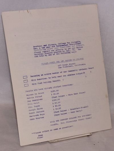 San Francisco: the College, 1972. Included are the following: Pledge form for potential donors; list...