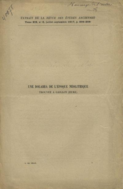 Bordeaux: Imprimerie Gounouilhou, 1917. Offprint. Self wrappers. A very good copy.. pp. Illus. with ...