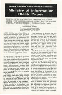Position of the Black Panther Party for Self-Defense on the Seventh Congressional District Election and the Candidacy of John George in the Democratic Primary