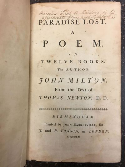 Birmingham: Printed by John Baskerville for J. and R. Tonson, 1760. Third Baskerville Edition. Hardc...