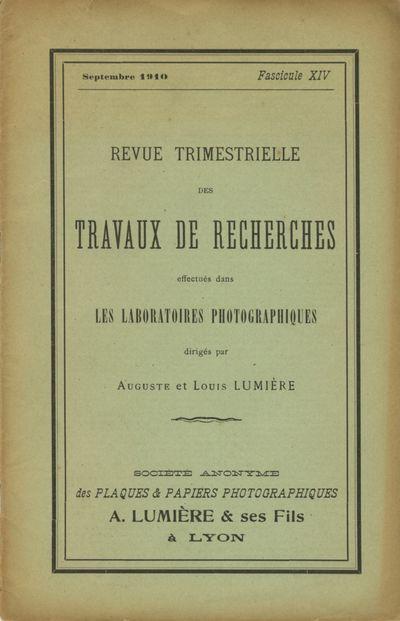 Lyon: Société Anonyme des Plaques et Papiers Photographiques A. Lumière & Ses Fils, 1910. 8...
