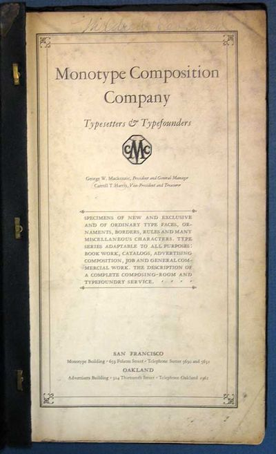 San Francisco & Oakland: Monotype Composition Company, 1925. 1st edition thus. Printed paper covers ...