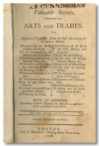 VALUABLE SECRETS, CONCERNING ARTS AND TRADES. OR, APPROVED DIRECTIONS FROM THE BEST ARTISTS, FOR THE VARIOUS METHODS OF ENGRAVING ON BRASS, COPPER, OR STEEL. OF THE COMPOSITION OF METALS AND VARNISHES. OF MASTICHS AND CEMENTS, SEALING-WAX, &C. OF COLOURS AND PAINTING, FOR CARRIAGE-PAINTERS. OF PAINTING ON PAPER. OF COMPOSITIONS FROM LIMNERS. OF TRANSPARENT COLOURS. HOW TO DYE SKINS OR GLOVES. TO COLOUR OR VARNISH COPPER- PLATE PRINTS. OF PAINTING ON GLASS. OF COLOURS OF ALL SORTS FOR OIL, WATER, AND CRAYONS. OF THE ART OF GILDING. OF THE ART OF DYING WOODS, BONES, &C. OF THE ART OF MOULDING. OF THE ART OF MAKING WINES. OF THE VARIOUS COMPOSTIONS OF VINEGARS. OF LIQUORS AND ESSENTIAL OILS. OF THE CONFECTIONARY ART. OF TAKING OUT ALL SORTS OF SPOTS AND STAINS. WITH AN APPENDIX, CONTAINING VALUABLE SELECTIONS, IN ADDITION TO, AND NEVER BEFORE PUBLISHED IN THIS WORK