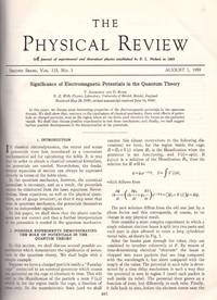 AHARANOV-BOHM EFFECT:  Significance of Electromagnetic Potentials in the Quantum Theory and...