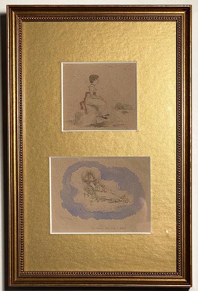 GREENAWAY (Kate) MINIATURE Artwork, circa 1885-1895. Original pencil and watercolor drawings on tone...