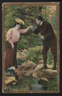 POSTCARD OF HIKING COUPLE, ALWAYS LOOK BEFORE YOU LEAP