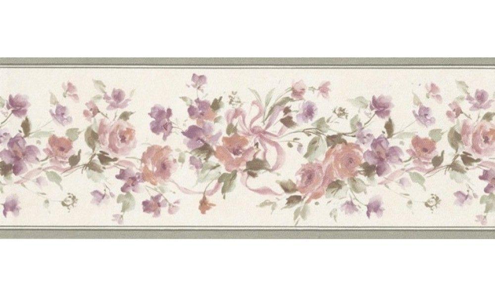 1 Roll Of Olive Beige Floral Ribbons Wallpaper Border 76583 PP (MS)