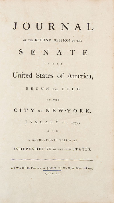 New York: John Fenno, 1790. Folio. 224pp. Contemporary half sheep and marbled paper covered boards, ...