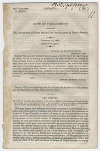 [drop-title] Acts of Parliament extending the jurisdiction of Great Britain over certain parts of North America. January 13, 1845. Ordered to be printed. by Great Britain. Parliament - 1845 - from Philadelphia Rare Books & Manuscripts Co., LLC (PRB&M)  (SKU: 12502)