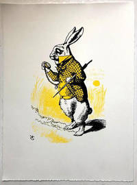image of The White Rabbit looking at his watch, in yellow - Print (Signed)