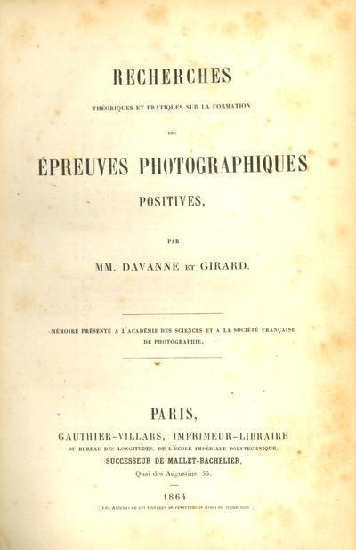 Paris: Gauthier-Villars, 1864. First edition. 8vo., vi, 152 pp. Contemporary quarter calf gilt and m...
