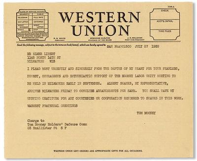 San Francisco, 1939. Original telegraph message on Western Union letterhead (18x21.5cm.) addressed t...