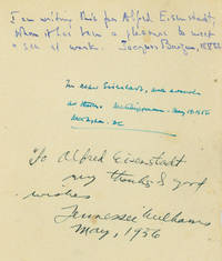 "Autograph Note, signed (""Tennessee Williams"") and dated May, 1936, to Alfred Eisenstaedt: ""To Alfred Eisendaedt,  My thanks & good wishes."" Same leaf also signed with Autograph Notes by Jacques Barzun and Walter Lippman, each with brief inscriptions"