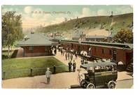 image of PENNSYLVANIA RAILROAD DEPOT IN CLEARFIELD PENNSYLVANIA WITH VINTAGE BUS  VINTAGE POSTCARD