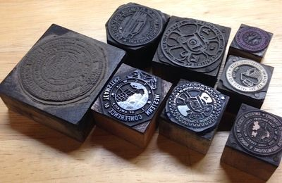 : various, n.d.. Eight seals, sizes ranging from .75x.75 to 2x2 inches, each with a thin metal or ha...