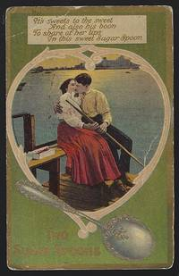POSTCARD OF COURTING COUPLE, TWO SUGAR SPOONS