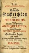 View Image 2 of 5 for Neue Acerra Philologica Oder Gründliche Nachrichten Aus der Philologie Und den Römischen und Griec... Inventory #54478