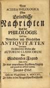 View Image 4 of 5 for Neue Acerra Philologica Oder Gründliche Nachrichten Aus der Philologie Und den Römischen und Griec... Inventory #54478
