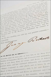 Printed circular signed in autograph ink by naval storekeeper George Bates printing a statement by John Barney in settlement of a slander case against Barney.