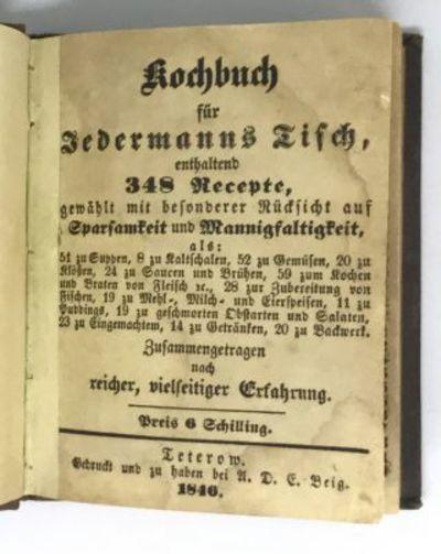 Teterow : Gedruckt und zu haben bei A. D. E. Beig, 1846. Hardcover. Brown cloth, gilt title. Good. 1...