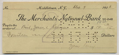 Unbound. Fine. Partially printed check Signed to Bird, Jones & Kerrigan on the Merchants' National B...