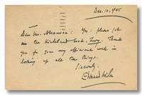 [Autograph Postcard, Signed] by  Edmund Wilson - 1945 - from William Reese Company - Literature ABAA-ILAB (SKU: WRCLIT82523)