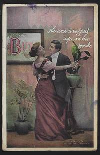 POSTCARD OF DANCING COUPLE, WRAPPED UP IN HIS WORK