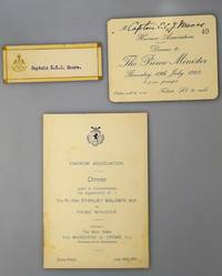 Harrow Association Dinner Given to Commemorate the Appointment of The Rt. Hon. Stanley Baldwin M.P. As Prime Minister . Together with Invitation to Captain E.C. J Moore and His Place Name Card Enclosed [ Savoy Hotel: July 19th 1923 ]