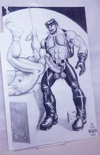 image of Poster of Leatherman/Biker in Chaps fisting a bound nude man with can of Crisco at feet #7/10