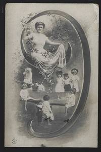 POSTCARD OF LOVELY LADY SITTING IN ON INITIAL J SURROUNDED BY CHILDREN  PLAYING