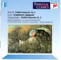 image of Pinchas Zukerman performs Bruch (#1), Lalo (Symphonie Espagnole), and Vieuxtemps (#5) Violin Concertos [COMPACT DISC]