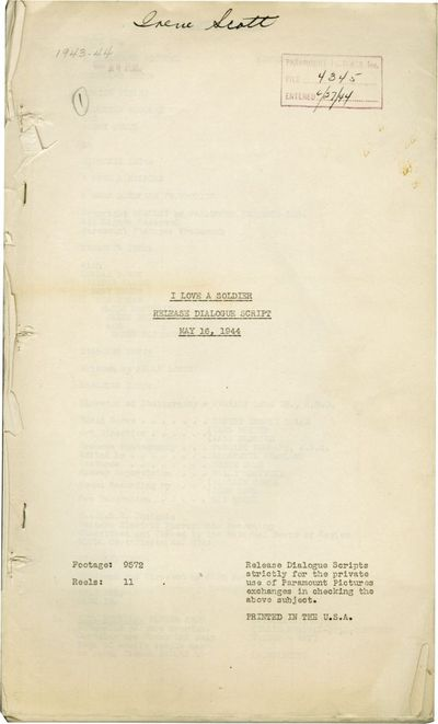 Hollywood: Paramount Pictures, 1944. Post-production Release Dialogue script for the 1944 film. Duri...