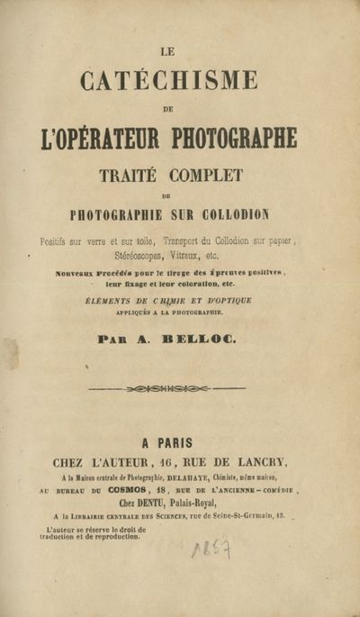 Paris: Chez L'Auteur, 1857. First edition. 8vo., III, 276 pp. Contemporary quarter calf, titled in g...