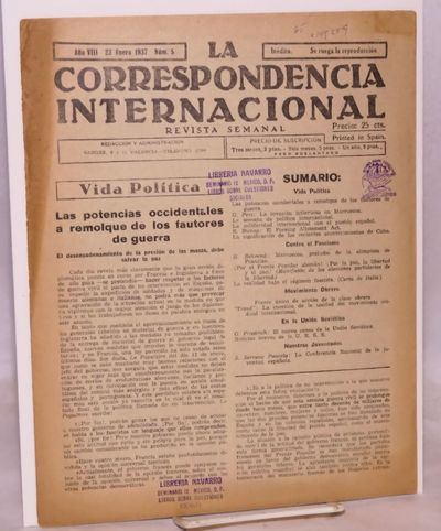 Barcelona: , 1937. 16p., 8.25x11.25 inch newspaper, wraps unevenly browned, spine somewhat split, Me...