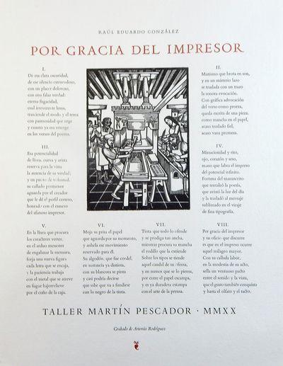 (Tacámbaro): Taller Martín Pescador, 2020. Limited edition. Broadside. Fine. Broadside, 10 by 13 i...