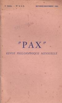PAX. revue maçonnique mensuelle. n° 8/9 by Brody  Roméo  Bily - 1962 - from Le Grand Chene (SKU: 19054)