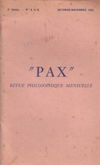 PAX. revue maçonnique mensuelle. n° 8/9
