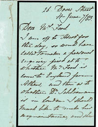 image of AUTOGRAPH LETTER TO MARY FORD ABOUT THE ARCHAEOLOGIST HEINRICH SCHLIEMANN SIGNED BY GENERAL FREDERICK WILLIAM HAMILTON, COMMANDER OF A REGIMENT IN THE CRIMEAN WAR.