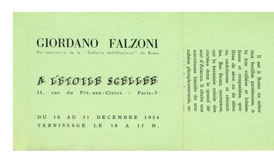 Two illus. Green coated paper with three folds. . A very rare exhibition announcement from A L'Etoil...