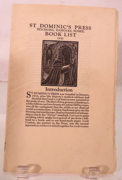 Ditchling: St. Dominic's Press, 1930. First edition. Original Wraps. Orig. stapled cream wrappers. V...