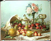 Untitled still life with fruit and flower arrangement