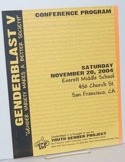 San Francisco: Youth Gender Project, LGBT Community Center, 2004. 14p., 8.5x11 inches, schedule, abo...